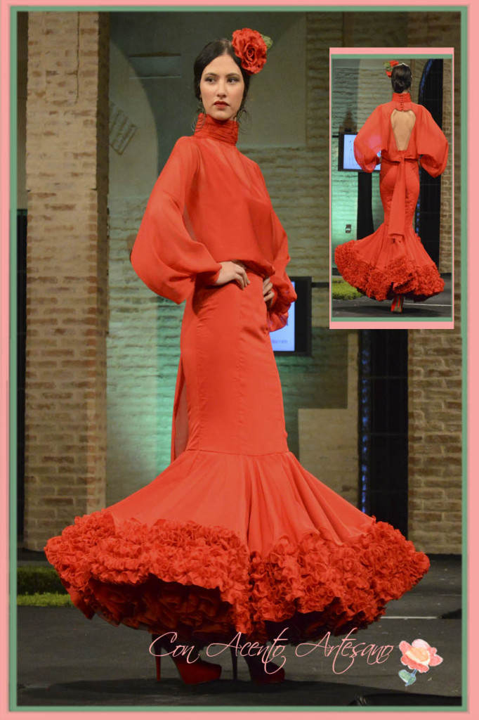 Traje de flamenca canastero y rojo de Laura Aguilera Torres