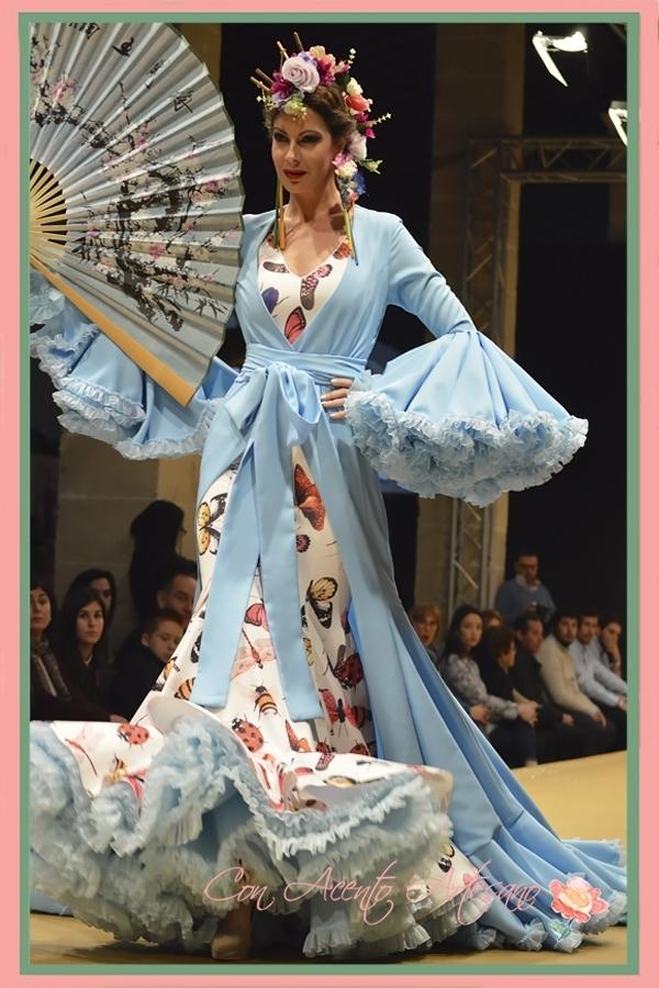 Traje de flamenca y kimono de María Amador en Pasarela Flamenca Jerez Tío Pepe 2017