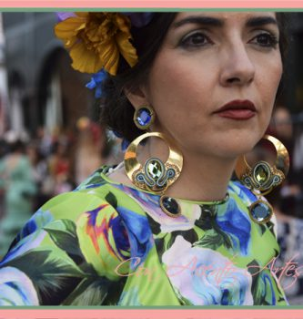 Traje de flamenca verde estampado