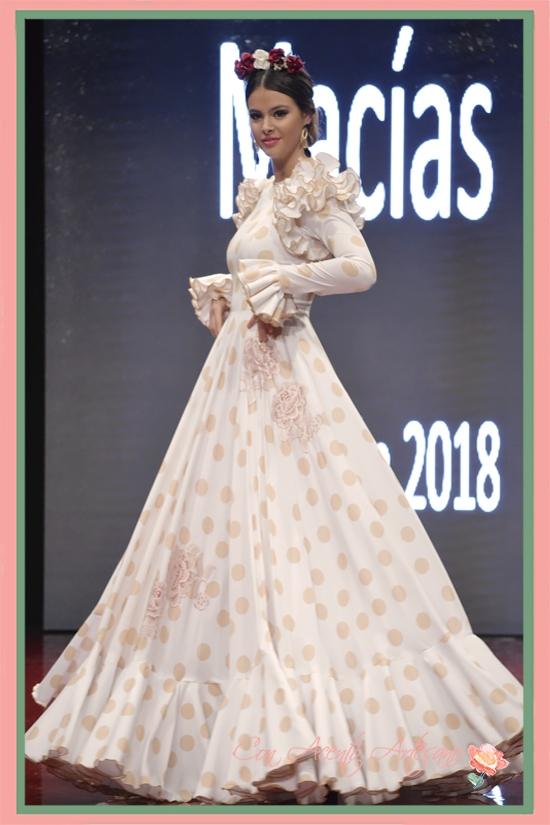 Traje de flamenca setentero de Manuela Macías en Pasarela Huelva Flamenca 2018