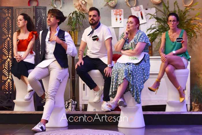 Concursantes salvados en el programa 7 de Aguja Flamenca: María, Álvaro, Manuel, Angelita y Jennifer