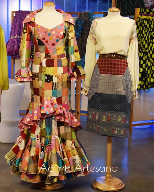 Traje de flamenca y falda de El Ajolí realizados con la técnica del patchwork flamenco, también llamada almazuelas, en Aguja Flamenca